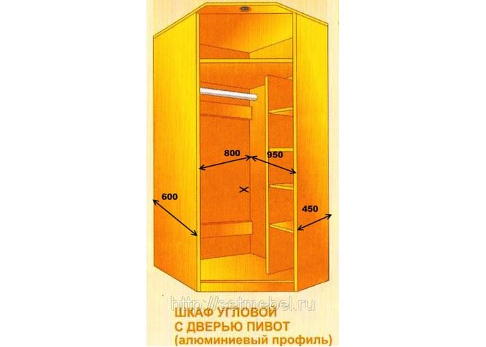 """Шкаф угловой с дверью """"пивот"""" алюминевый профиль купить по ц."""